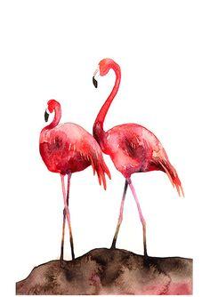 Flamingos Bird Watercolor Illustration by BarbaraSzepesiSzucs,