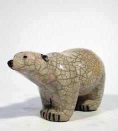 SAVANNAH GRIZZLY BLANC XL Céramique d'art Raku Les ours statues et décoration céramique d art - Paris France
