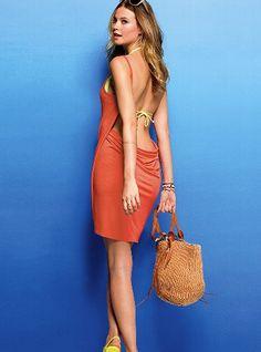 Orange Open Back Cover-up Dress