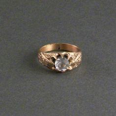 Antique Victorian Mens Ring  Big High Bright Stone