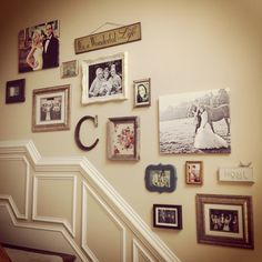 """this is the wall arrangement of frames that I was telling you about. Just add a few canvases in different colors, different size, colors and textures of frames, the letter """"C"""" and a wooden quote on the top. This would be o cute with some of the pics from your portrait session! :)"""