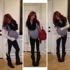 Maternity Outfit, Maternity Fashion, Pregnancy, Stripe Shirt, Boots, Leggings, Long Cardigan