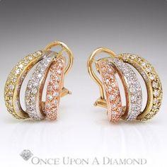 14k Tri Color Gold 0 50ctw Round Diamond Triple Hoop Earrings Fine Jewelry