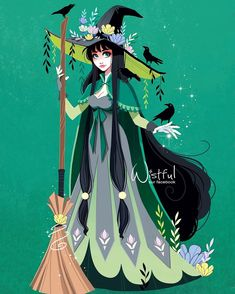 Witch with flowers on her hat and black ravens with a broomstick Witch Drawing, Magic Drawing, Crows Drawing, Modern Witch, Witch Art, Witch Aesthetic, Vampire, Pretty Art, Character Design Inspiration