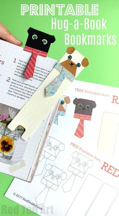 """Oh my, this Pug Bookmark DIY idea is just SO CUTE! Adore the """"Hug a Book"""" format and the tie is just adorable. Make from scratch or use the dog template."""