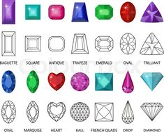 Stock vector of 'Gems and cut line set. Different facets for crystals. Jewelry collection isolated on white background. Diamonds cut. Realistic, cartoon style. Vector illustration, clip art'