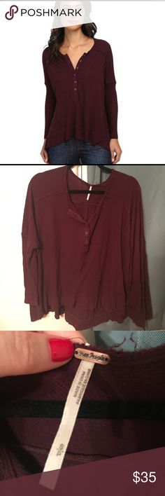 Free People Drapey Waffle Henley Free People oversized waffle henley in size small. Great for layering during the summer and for transitioning between seasons! 3/4 sleeves with longer back. Very soft & cozy. Worn 5 or 6 times and ready to find a new home! Free People Tops