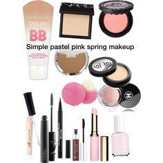 Simple pastel pink spring makeup