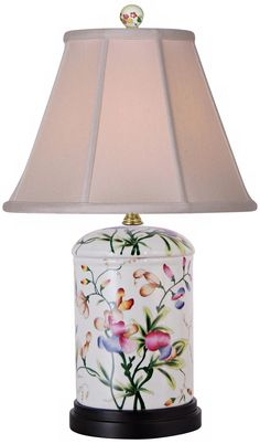 This porcelain table lamp features a beautiful floral scene in rich color. Shade is 6 across the top x across the bottom x high. Style # at Lamps Plus. Porcelain Sink, Fine Porcelain, Painted Porcelain, Porcelain Jewelry, Hand Painted, Porcelain Dolls For Sale, Painting Lamps, Room Lamp, Chandelier Lamp