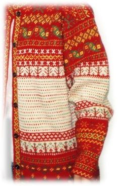 Finland, Korsnäs traditional cardigan pattern from 1850 Fair Isle Knitting, Knitting Yarn, Hand Knitting, Knitting Patterns, Crochet Patterns, Knitting Ideas, Cardigan Pattern, Crochet Cardigan, Knit Crochet
