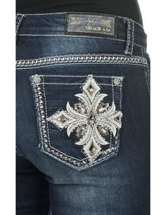 Grace in LA Women's Dark Wash with Leather Embroidered Cross Open Pocket Easy Fit Boot Cut Jeans | Cavender's