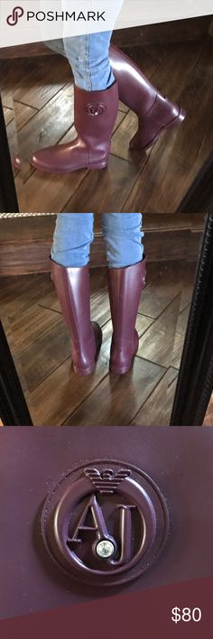 Armani Jeans Rain Boots Tall Maroon NEW Never wore these. All items are 100% authentic. Armani Jeans Shoes Winter & Rain Boots