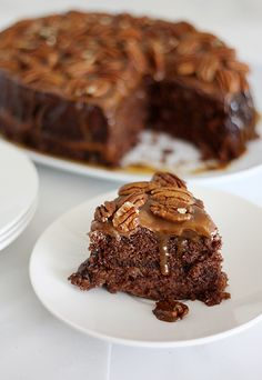 Slow cooker Turtle upside-down cake. If I ever stop loving chocolate cake I don't want to live on this planet anymore.