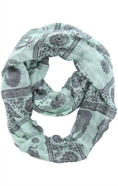 Deb Shops #tribal inspired infinity scarf with #elephants $9.67