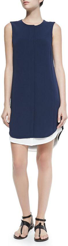 Rag & Bone Sleeveless Crepe Shirtdress W/ Long Tail