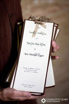 Brown wedding programs-like the simplicity, we could make that? Wedding Stationary, Wedding Programs, Wedding Ceremony, Wedding Invitations, Backdrop Wedding, Church Ceremony, Flower Backdrop, Wedding Paper, Wedding Cards