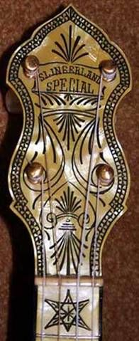"Detail of a Slingerland Special model banjo with a Pyralin headstock or ""peghead"""