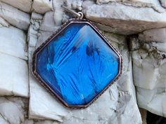 Dramatic Sterling Silver, Blue Morpho Butterfly Wing Pendant, Large and Vivid Piece with Domed Crystal, Decorative Border, Signed, 1920s Era by postGingerbread on Etsy