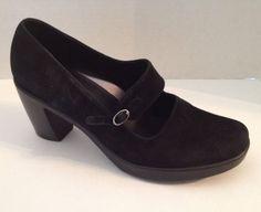 Dansko 39.5 Shoes Womens Size 9 9.5 Black Suede Heels Mary Jane Leather #Dansko #MaryJanes