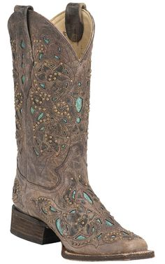 Corral® Ladies Distressed Brown w/ Turquoise Inlay & Bronze Studs Square Toe Western Boots from Cavender's. Saved to Epic Wishlist. Cowboy Boots Women, Cowgirl Boots, Western Boots, Riding Boots, Western Style, Cowboy Hats, Bota Country, Country Boots, Cavenders Boots