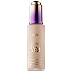 Tarte Rainforest of the Sea Water Foundation SPF 15 (Shade: Porcelain) $39 :: Deliver the ultimate in hydration-boosting coverage with tarte's 12-hour water foundation. The concentrated, full-coverage fluid formula features 20 percent water to quench dry skin as it covers and masks any redness, dark spots, and uneven skintone while softening the look of pores and fine lines.