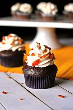 Bacon Chocolate Cupcakes with Maple Frosting...I might be brave enough to make these!
