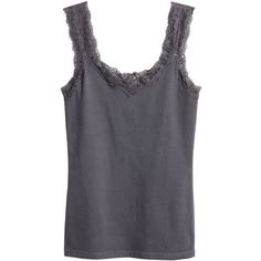 H&M Top with a lace trim found on Polyvore featuring polyvore, women's fashion, clothing, tops, tank tops, tanks / cami's, dark grey, jersey tank top, lace trim tank and cotton tank tops