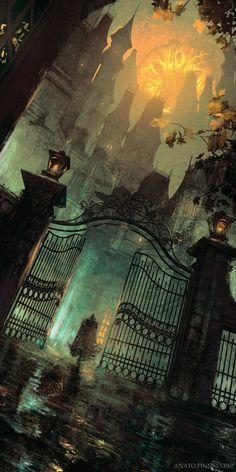 Dark Fantasy Art, Fantasy Kunst, Fantasy Concept Art, Fantasy City, Fantasy Places, Fantasy Artwork, Fantasy World, Fantasy Drawings, Fantasy Tattoos