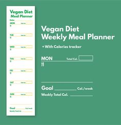 Weekly Meal Planner Vegan Diet and Grocery List Printable