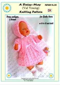 Dolls knitting Pattern knit a Matinee Coat Bonnet leggings Boots Prem Baby Knitting Dolls Clothes, Baby Doll Clothes, Baby Hats Knitting, Crochet Doll Clothes, Doll Clothes Patterns, Baby Dolls, Vintage Knitting, Barbie Clothes, Girl Dolls