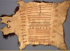 Hidatsa robe, 1820s, collected by Maximilian.  Ethno. Must. Berlin  ac