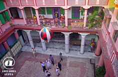 """As explained in the earlier photo, Rich families of Kolkata use to release  small hot air baloons called """"Fanoosh"""" on Deepavali - the festival of lights and Kali Pujo. Today only a handful of such houses releases Fanoosh. It is released either from the terrace ( as shown in the earlier picture) or from the courtyard inside the house.   (c)Amitabha Gupta Unauthorized use or reproduction for any reason is prohibited. Please contact me personally for any use of this photograph"""
