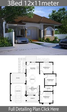 Casas Small house design plan with 3 bedrooms - Home Design with Plansearch How to buy Rugs A Bungalow Floor Plans, Modern Bungalow House, House Floor Plans, Modern Small House Design, Simple House Design, Model House Plan, Dream House Plans, House Construction Plan, Three Bedroom House Plan