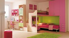 bunk bed, pink, green, green rug, pink shelving, color, pillows, lamps, chair, desk, shelving, window, drawers, interior decorating, girl's bedroom