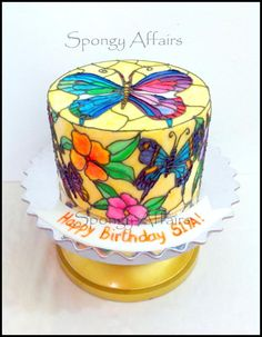 ~Stain Glass Cake by Meenakshi of Spongy Affair - Hello all, Happy new year to all my friends :) Posting here after a while…Stained glass painting themed cake for an artist who loves this art most! Freehand-piped and painted with edible colors on fondant and dark chocolate cake inside. Hope you...~