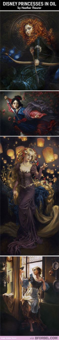 Disney Princesses As Oil Paintings- Utterly Gorgeous…Love Cinderella