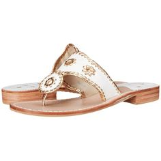 Jack Rogers Nantucket Gold (White/Gold) Women's Sandals ($118) ❤ liked on Polyvore featuring shoes, sandals, white sandals, low heel sandals, jack rogers shoes, small heel sandals and slip-on shoes