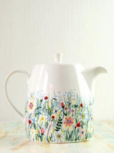 pretty hand-painted floral tea pot