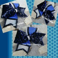 Royal blue,  black, silver.......so sparkly! Two Tiara's Bowtique Original design!  Cheer bows by Two Tiara's Bowtique on Etsy or Facebook as TwoTiaras Bowtique for more options and recent updates!
