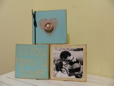 Wedding gift and housewares decoration with picture holder for anniversaries, showers and holidays. $25.75, via Etsy.