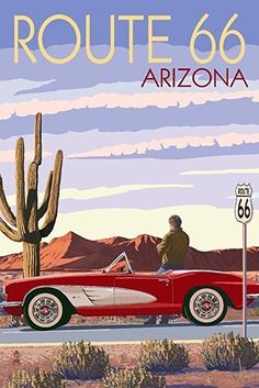 Best Corvette Artworks For Your Man Cave - Arizona - Route 66 - Corvette with Red Rocks Art Print