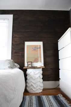Shiplap Walls & contrast. Love... with coral on all the other bedroom walls!!