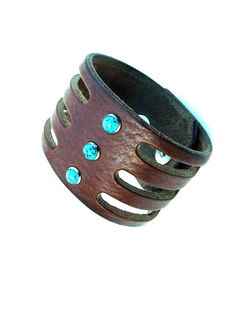 Leather Cuff with Turquoise stones and snap closure. Gifts for her. Trinity Cuff Leather with Turquoise Stones  by SexySkinsLeather, $54.50