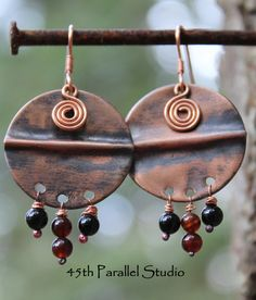 Fold Formed Copper Agate Earrings by 45thParallelStudio
