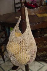 Uses approx. 250 yds. of cotton, linen, hemp or blended fiber DK weight yarn. Longer handles will require more yardage.