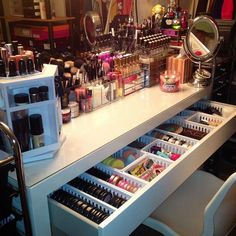 makeup organization... love the spinning white makeup display…