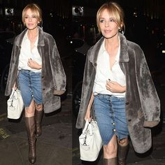 Kylie Minogue going out to dinner at Dean Street Townhouse restaurant in London, England, on April 2, 2015