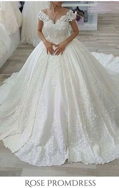 2019 Luxury Wedding Dress A-Line Lace Off-The-Shoulder Chapel Train, This dress could be custom made, there are no extra cost to do custom size and color Arabic Wedding Dresses, Chic Wedding Dresses, Luxury Wedding Dress, Junior Bridesmaid Dresses, Wedding Dress Sleeves, Cheap Prom Dresses, Boho Wedding Dress, Boho Dress, Bridal Dresses