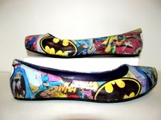 """Wedding Classic Vintage Batman Flats with """"Just Married"""" on back - Made to Order...I'm not getting married but these are sick!"""