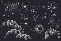 Star, Moon, Cloud, Sky Drawings by Feanne on Creative Market. Good for graphic design to crafting. Vector and clipart uses.